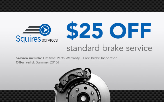$25 off standard brake services at Squires Services - Summer 2015 Promotion